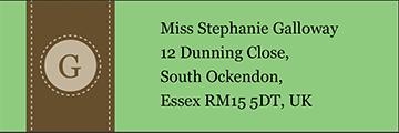 Monogram Address Label - Green pre-designed label template for EU30042