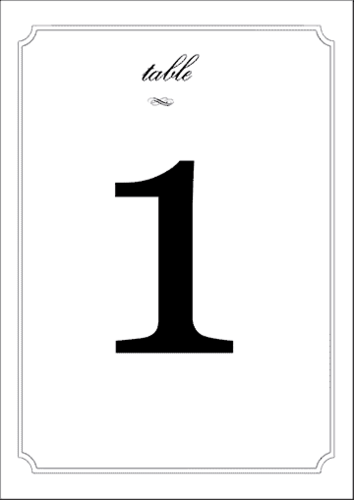 Wedding Table Numbers pre-designed label template for EU30033