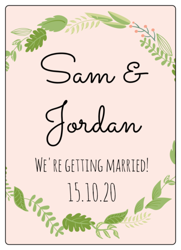 Botanical Wedding Wine Bottle Labels pre-designed label template for EU30005
