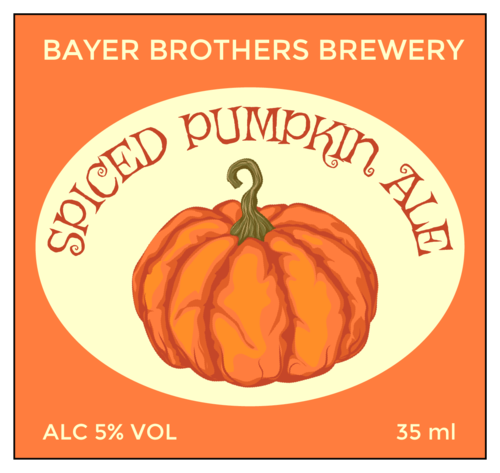"EU30035 - 105mm x 99mm - ""Spiced Pumpkin Ale"" Beer Bottle Labels"