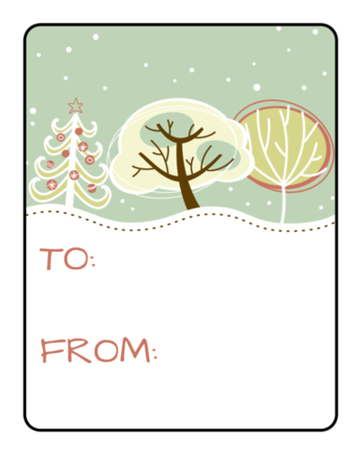 Frosty Gift Tag Labels pre-designed label template for EU30116