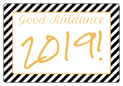 """Good Riddance!"" Champagne Bottle Labels pre-designed label template for EU30008"