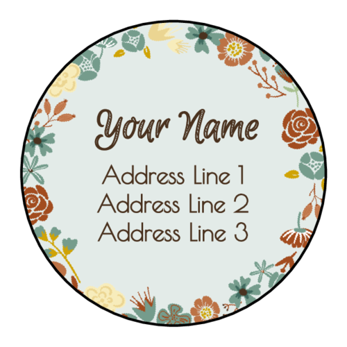 Floral Address Labels pre-designed label template for EU30095