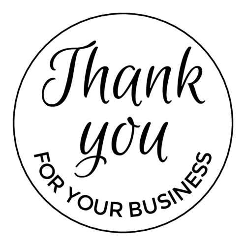 """Thank You for Your Business"" Circle Labels pre-designed label template for EU30022"