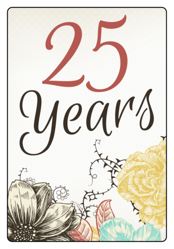 EU30008 - 99.1mm x 67.7mm - Floral Anniversary Wine Bottle Labels