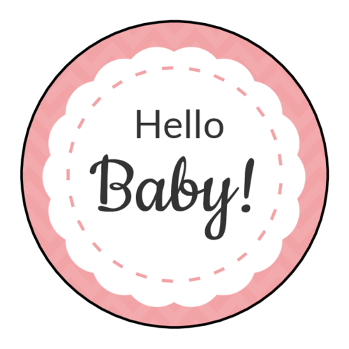 """Hello Baby!"" Circle Labels pre-designed label template for EU30095"