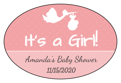 """It's a Boy/Girl!"" Oval Labels pre-designed label template for EU30099"