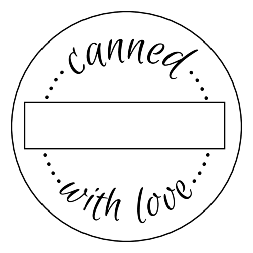 """Canned with Love"" Write-in Jar Labels pre-designed label template for EU30023"