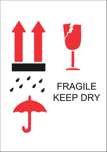 Fragile - Keep Dry pre-designed label template for EU30033