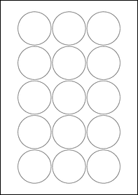 Product EU30022CL - 51mm Circle Labels - Gloss Clear Laser - 15 Per A4 Sheet