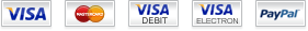 We accept: Visa, Mastercard, Visa Debit, Visa Electron, and Paypal
