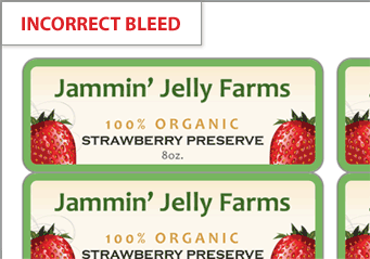 Incorrect bleed on a label design