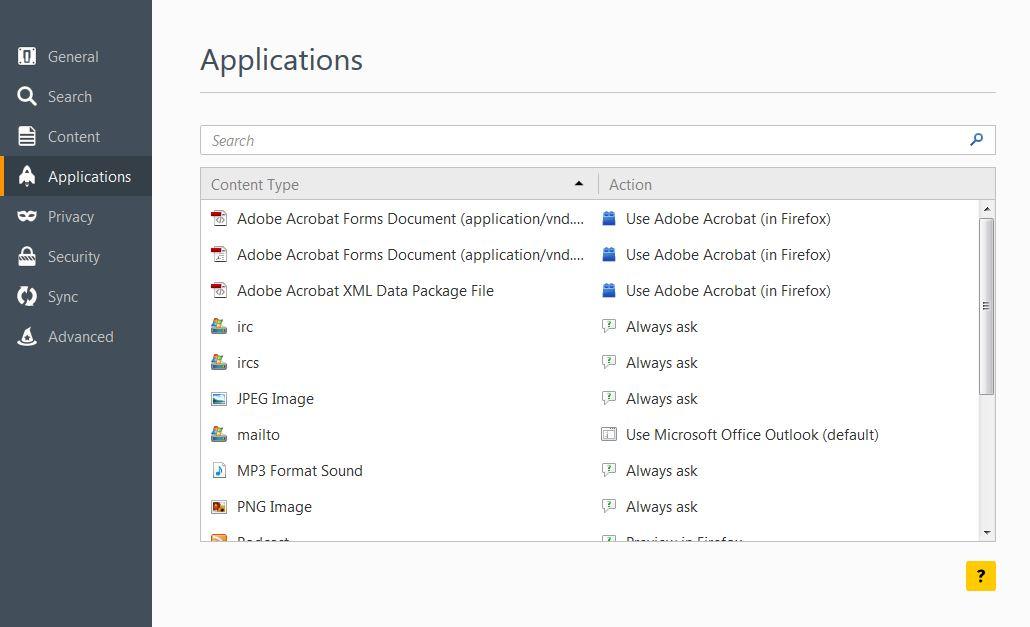 Applications menu in Firefox