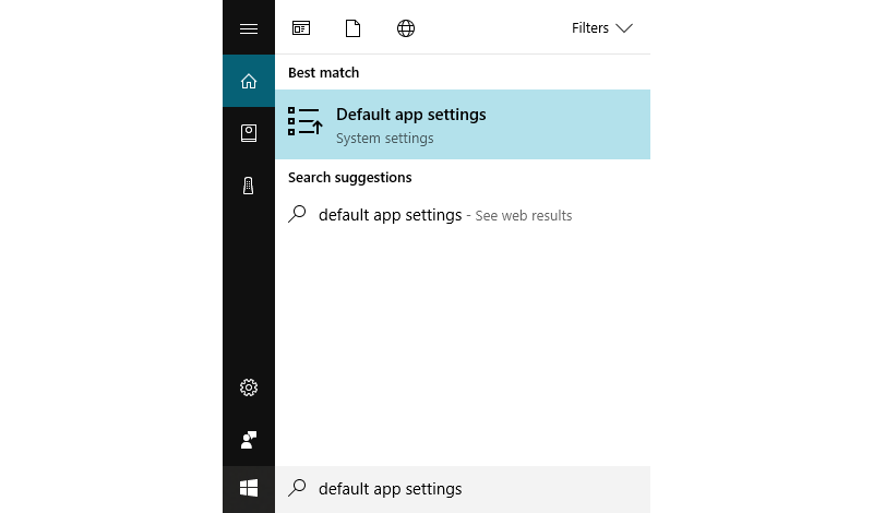 Default App Settings results in Windows start menu.