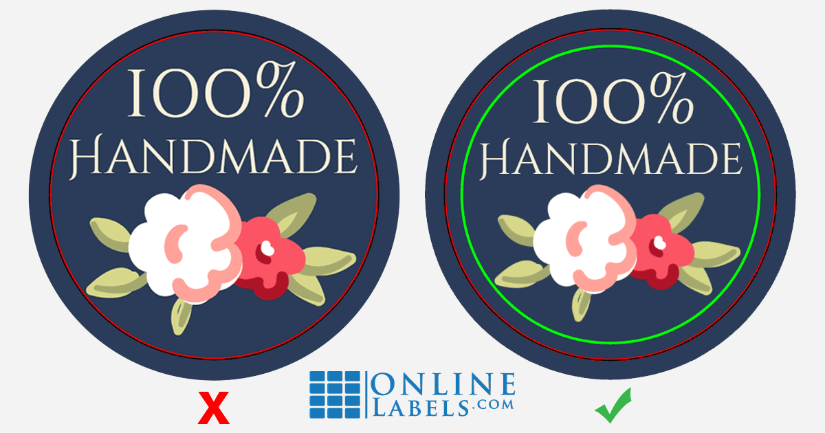 Circular design with and without text and graphics inside the safe margin