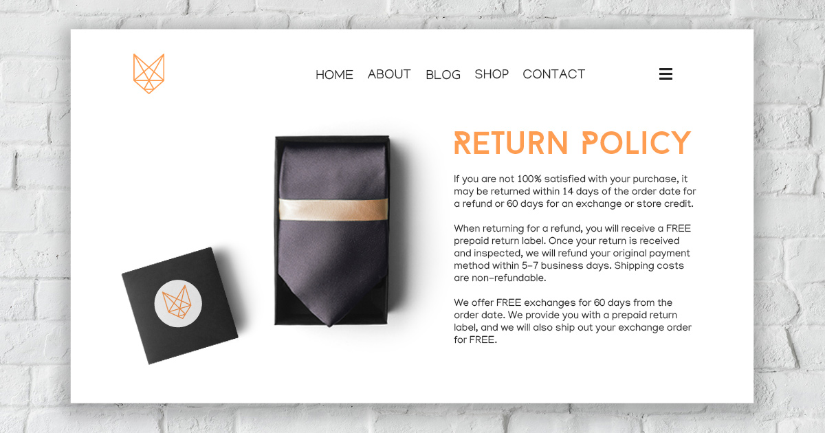 Small business return policy example