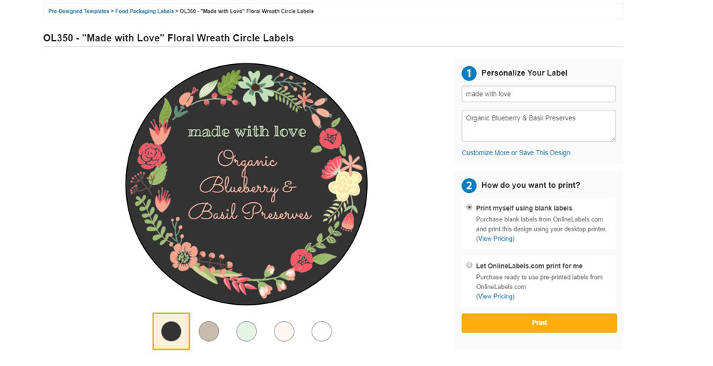 Editing pre-designed templates by Online Labels