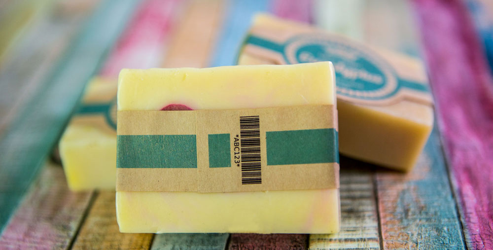 Handmade soap and label with internal Code 39 barcode