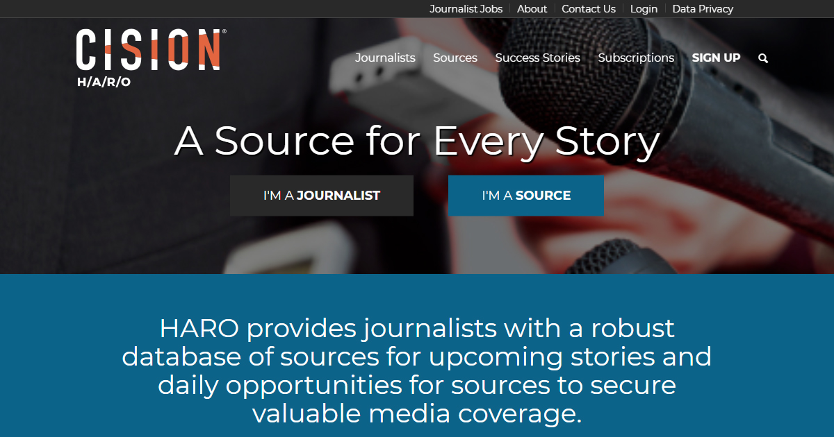 HARO homepage.