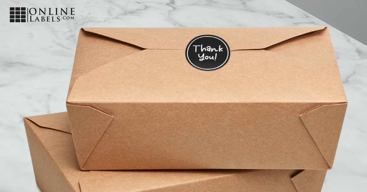 Fold-up kraft wax food to-go packaging with round label over opening to prevent tampering by delivery drivers