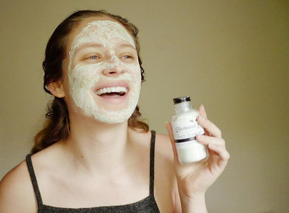 Skin care product in use.
