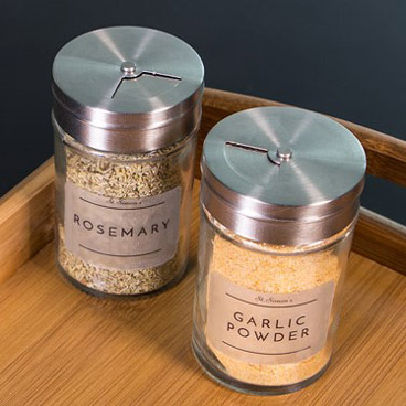 Spice jars with matt clear labels