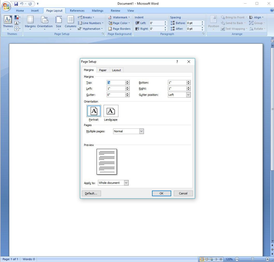Adjusting Margins in Microsoft Word, Custom Margins Dialog Box