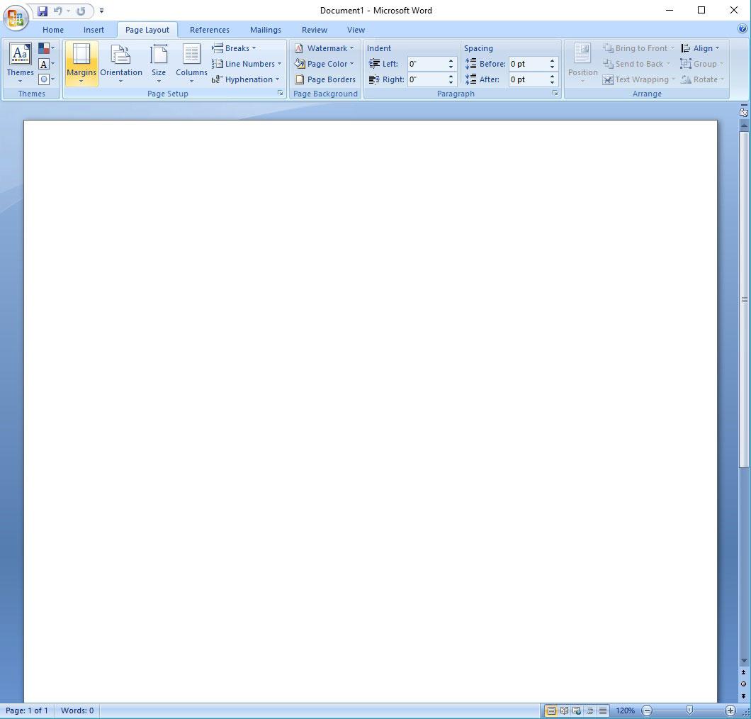 Adjusting Margins in Microsoft Word, Margins Menu