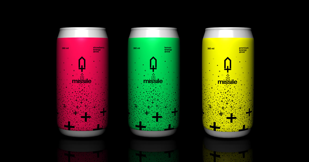 Neon labels wrapped around aluminum energy drink cans