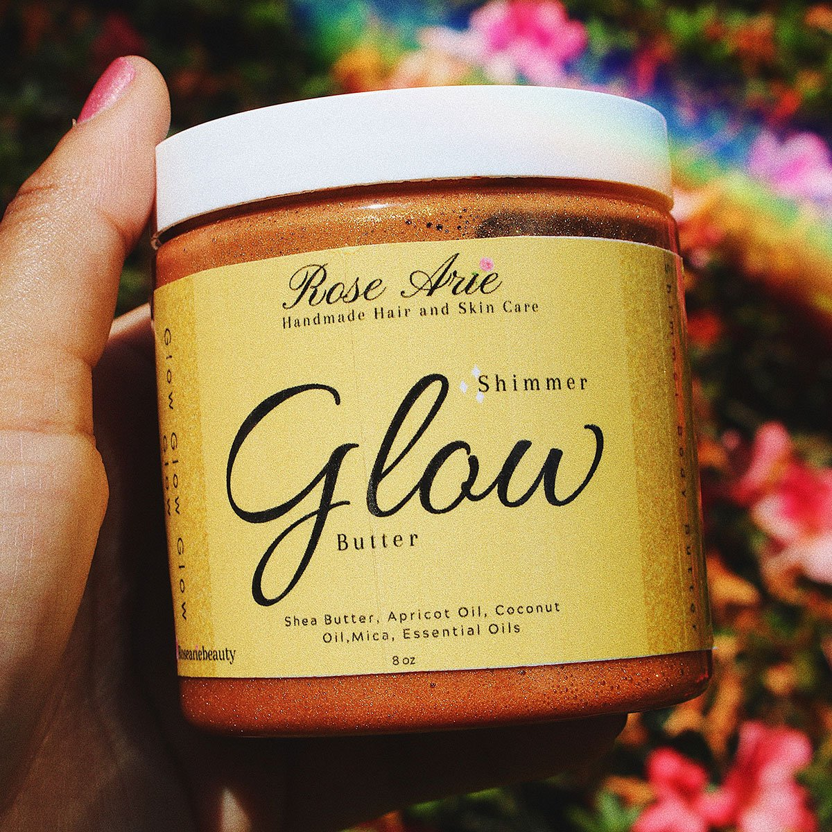 Shimmer body butter product label by Rose Arie Beauty