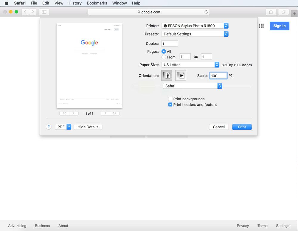 Adjusting Margins on Mac, Print Menu