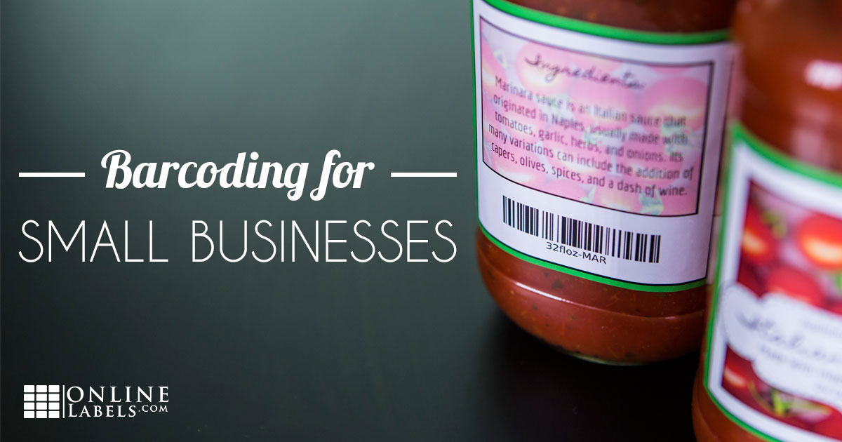 Tomato sauce jar labels with barcode to explain how small businesses can utilize barcodes