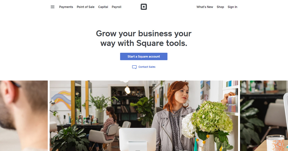 Square homepage: payment gateway option for small businesses.