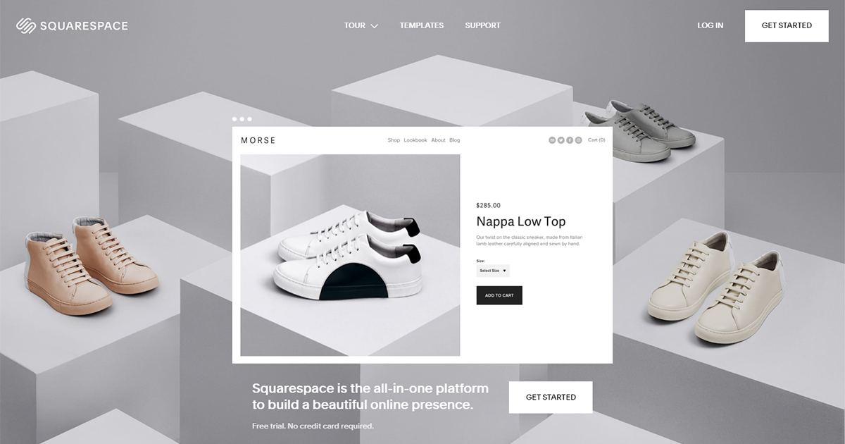 Squarespace homepage: webstore option for small businesses.