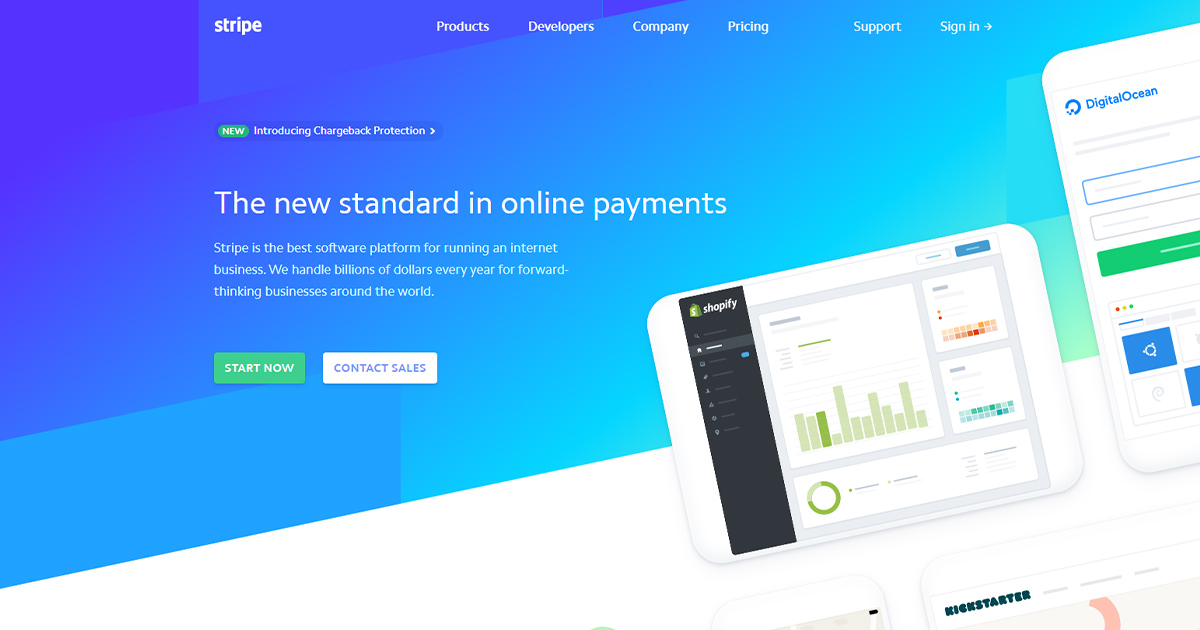 Stripe homepage: payment gateway option for small businesses.