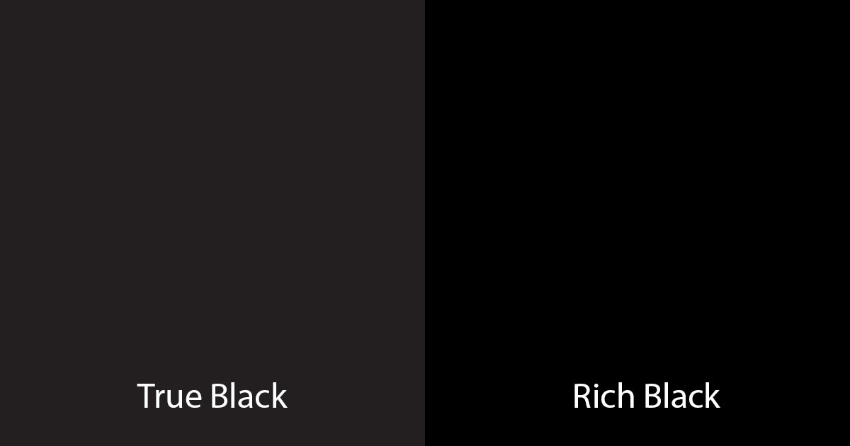 Comparing true black to rich black