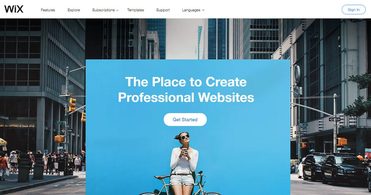 Wix homepage: webstore option for small businesses.