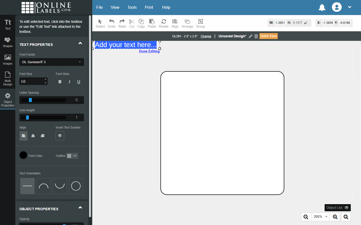 A new textbox with placeholder text selected