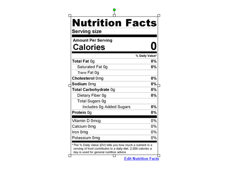 Maestro Label Designer Nutrition Label Edit