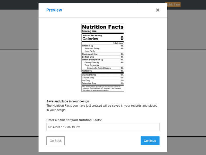 Maestro Label Designer Nutrition Label Preview
