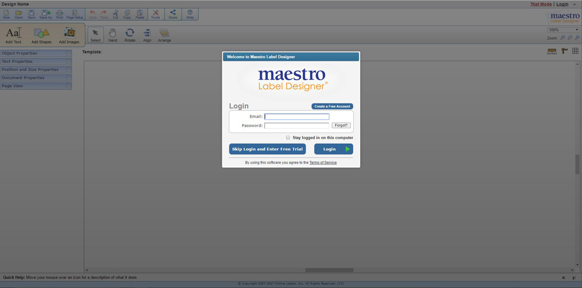 Old Maestro Label Designer Sign-in