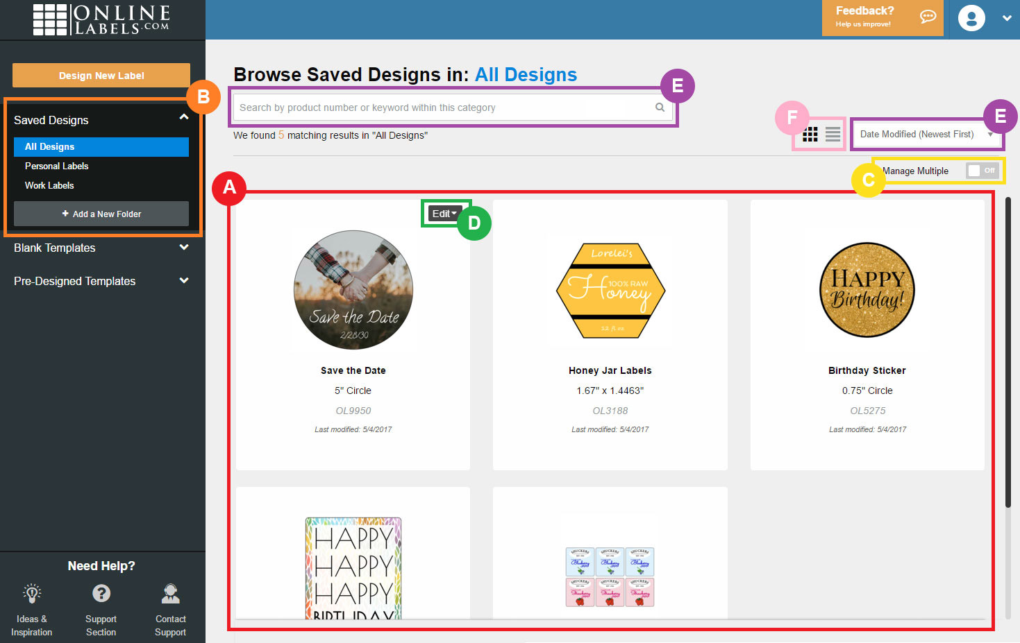 Maestro Label Designer Saved Design Screen
