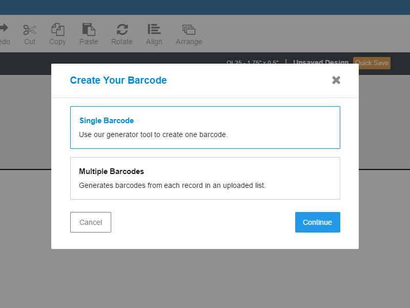 Barcode generator tool for creating single barcodes or barcode sets