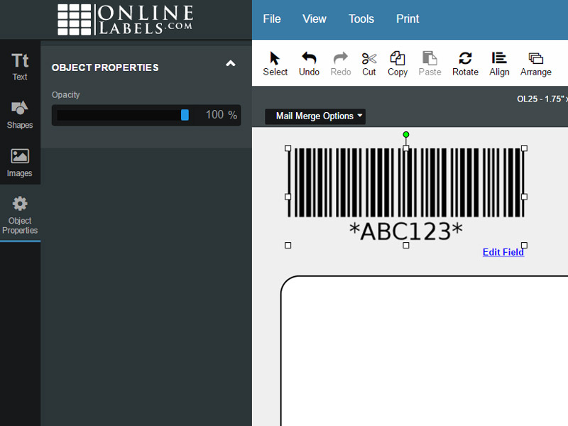 Maestro Label Designer Selected Object