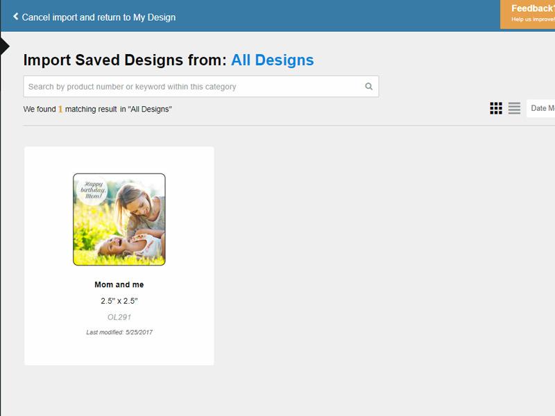 Design Selection Screen