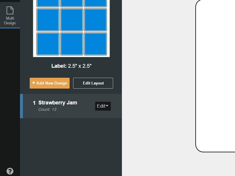 The +Add New Design button in the multi design tab