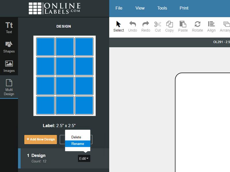 Editing your design name in the multi design tab