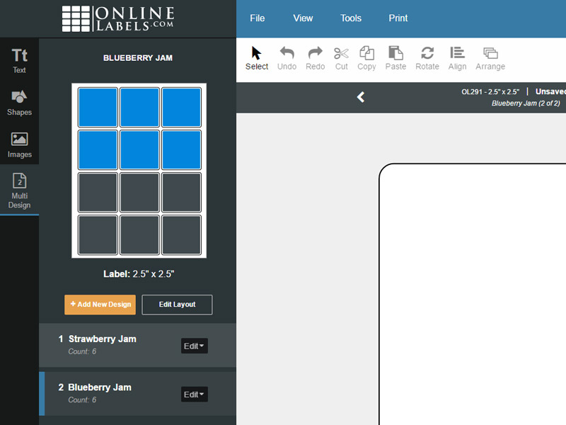 The multi design tab with multiple designs active