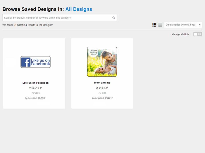 Saved Design Selection