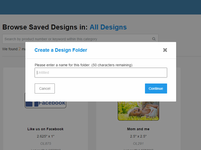The create a new design folder popup
